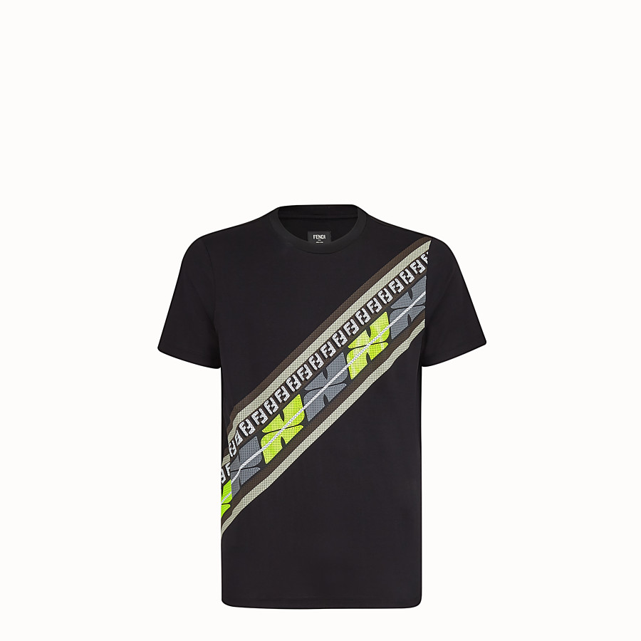 FENDI T-SHIRT - Black cotton jersey T-shirt - view 1 detail