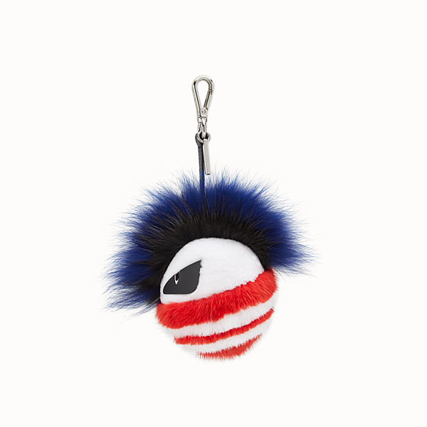 FENDI BAG BUG CHARM - Charm in pelliccia blu e multicolor - vista 1 thumbnail piccola