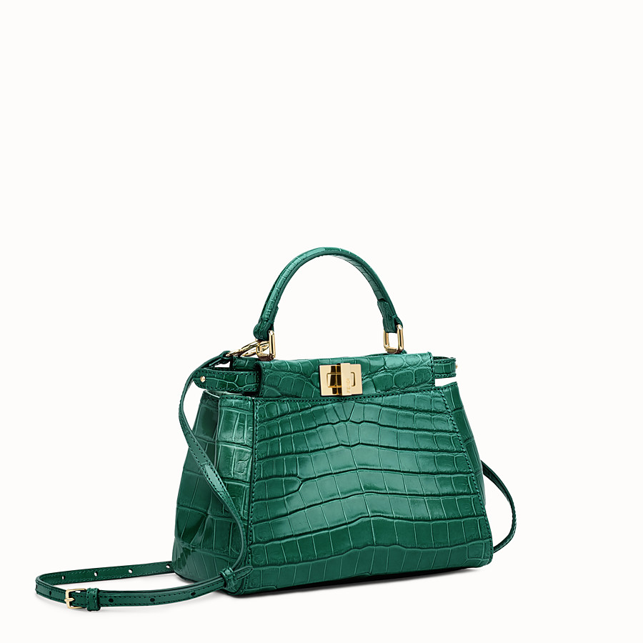 FENDI PEEKABOO MINI - Green crocodile leather handbag. - view 2 detail