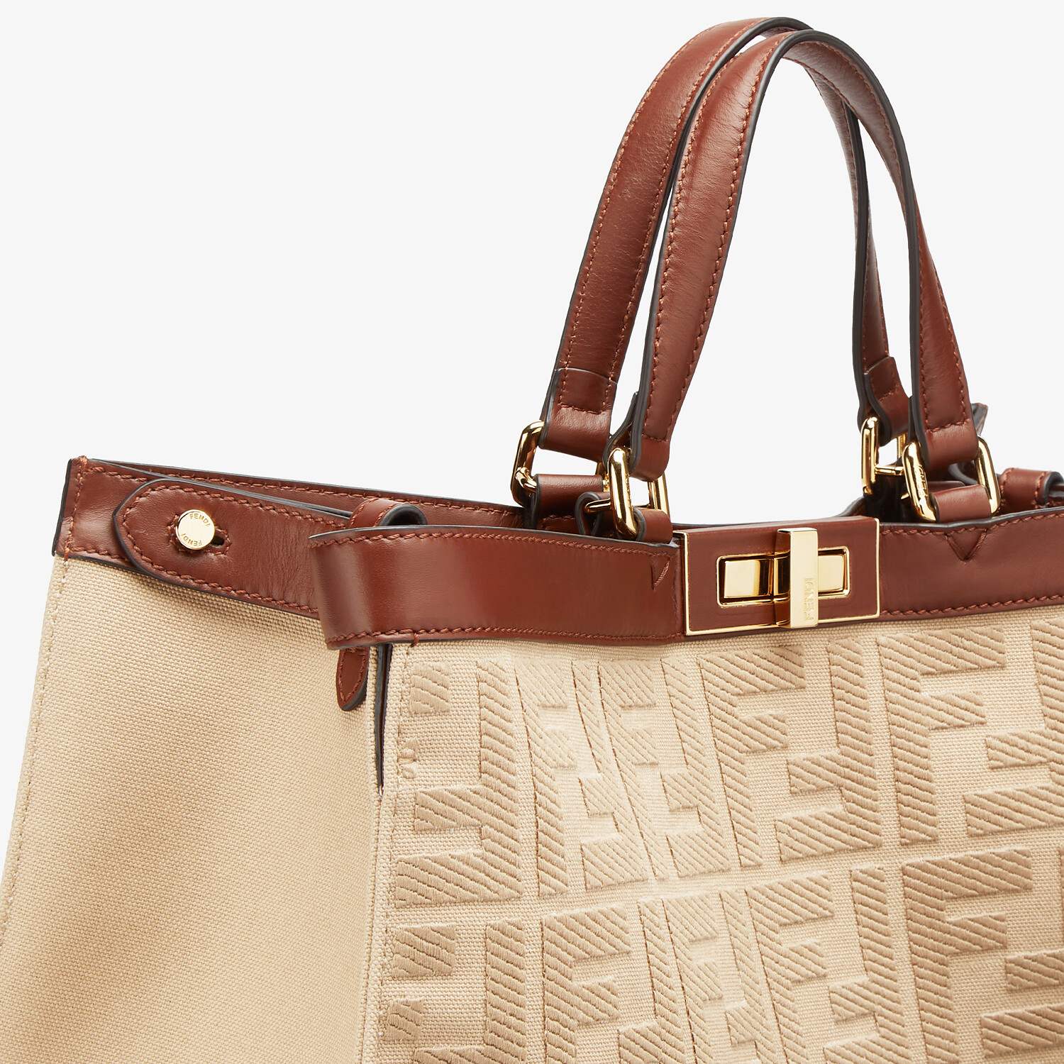 FENDI PEEKABOO X-TOTE - Beige canvas bag - view 6 detail