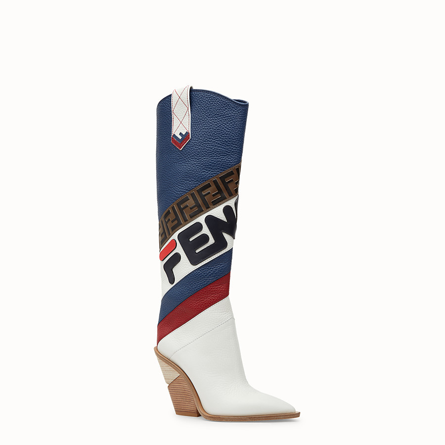 FENDI BOOTS - Multicoloured leather boots - view 2 detail