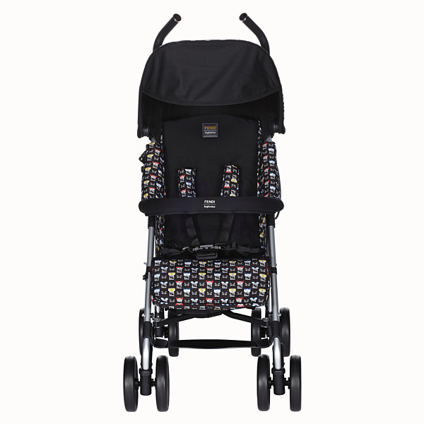 FENDI STROLLER - Blue stroller in fire-resistant material with monster pattern - view 1 small thumbnail