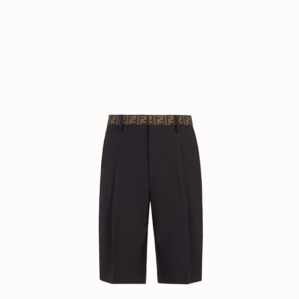 FENDI TROUSERS - Black trousers in tech gabardine - view 1 small thumbnail