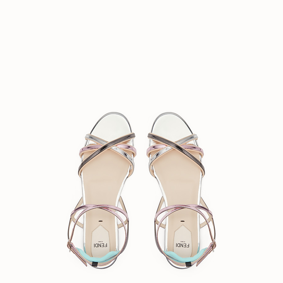 FENDI SANDALS - Multicolour laminated leather flats - view 4 detail