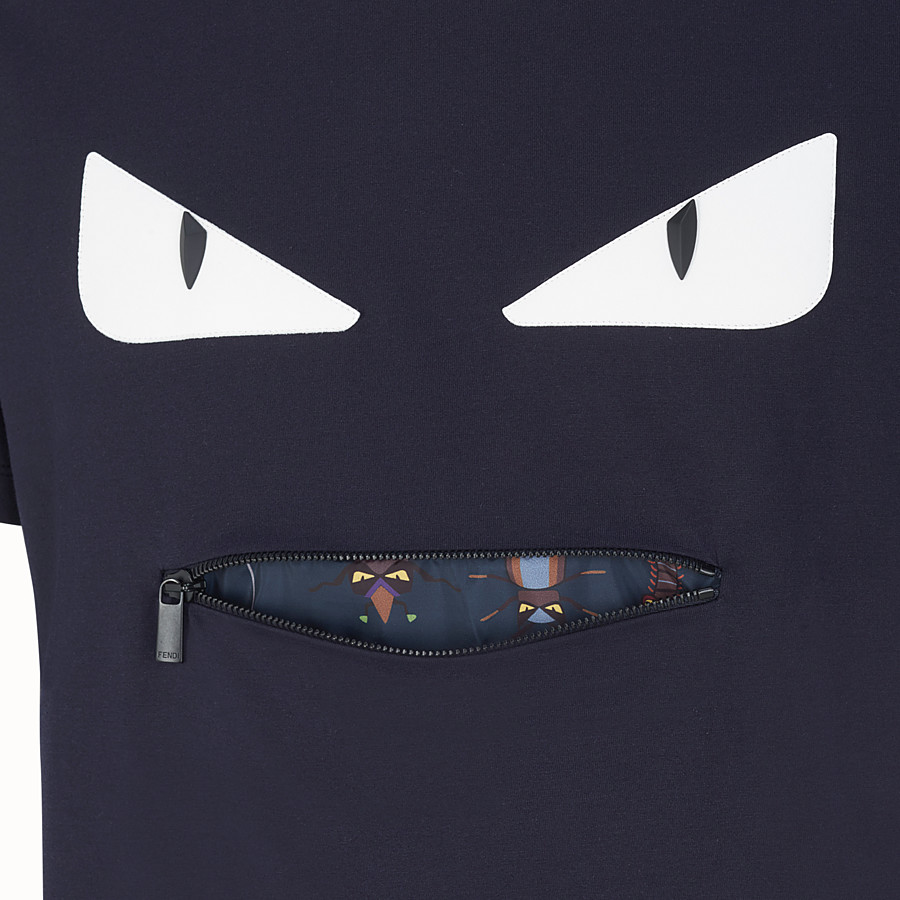 FENDI T-SHIRT - Blue cotton T-shirt - view 3 detail