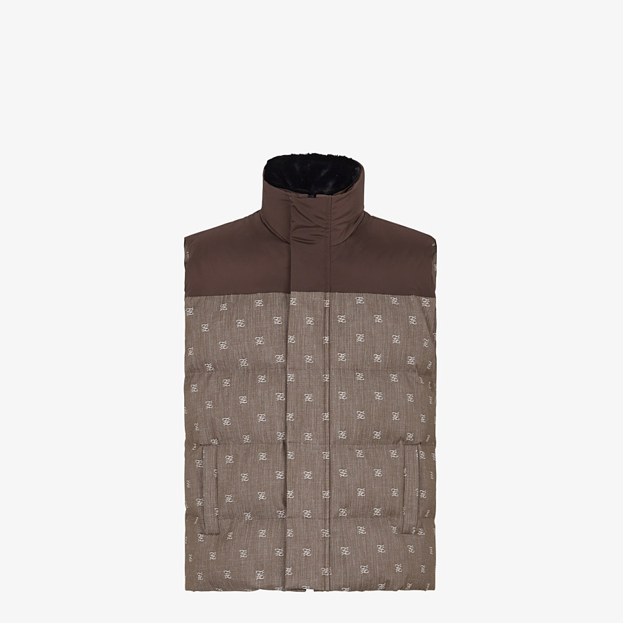 FENDI GILET - Brown jacquard fabric gilet - view 1 detail