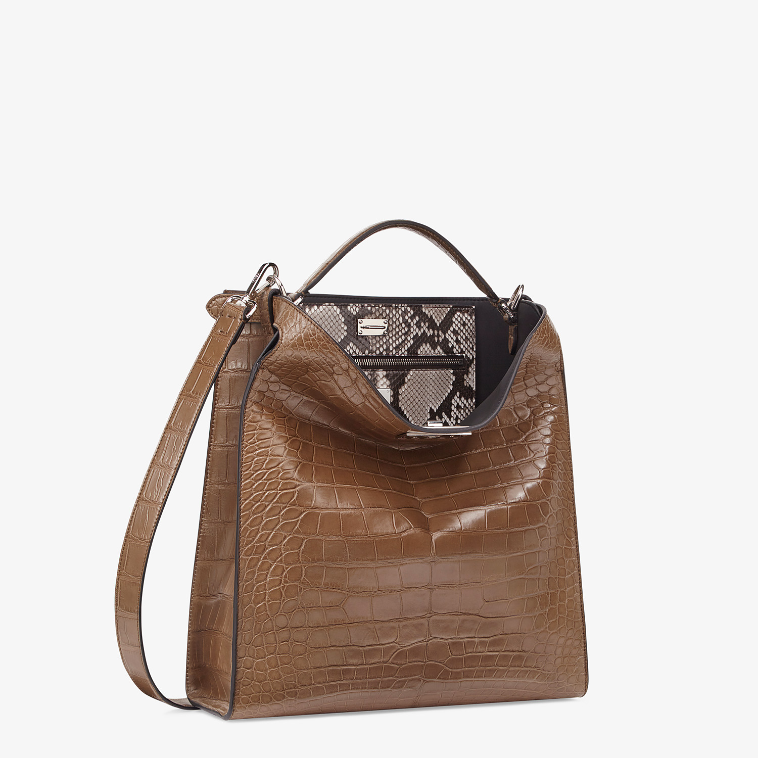 FENDI PEEKABOO X-LITE FIT - Brown alligator bag - view 3 detail