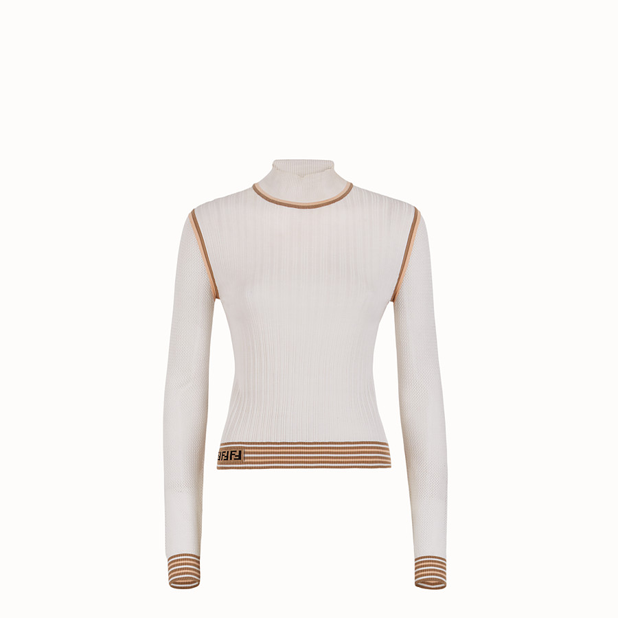FENDI JUMPER - White silk jumper - view 1 detail