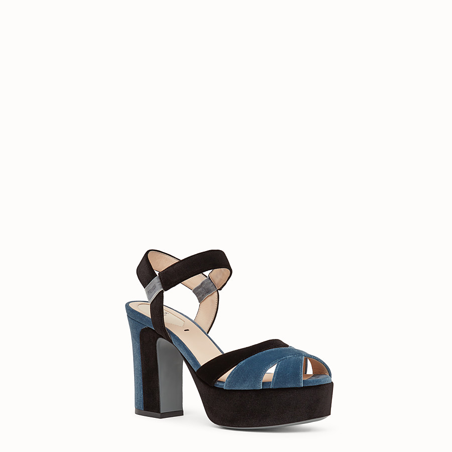 FENDI SANDALS - Multicolour velvet sandals - view 2 detail