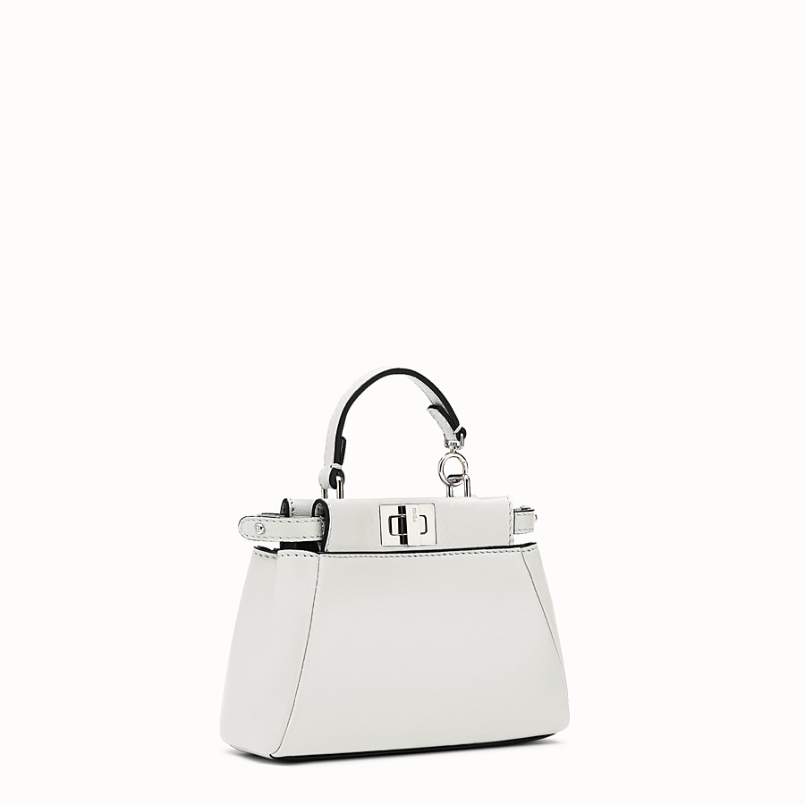 FENDI MICRO PEEKABOO - micro bag in white leather - view 2 detail