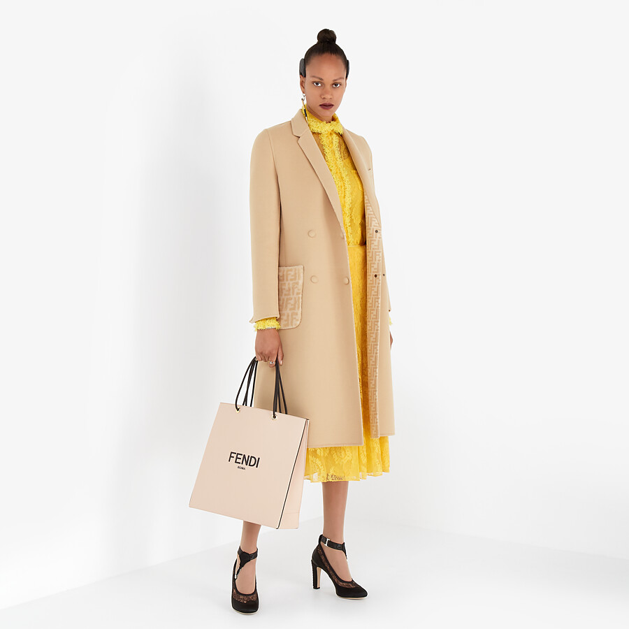 FENDI COAT - Beige double-sided wool coat - view 4 detail
