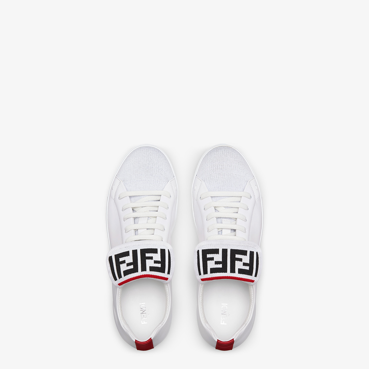 FENDI SNEAKERS - White mesh and leather low-tops - view 4 detail