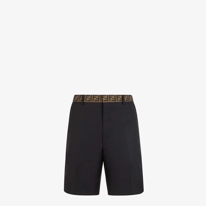 FENDI BERMUDAS - Black gabardine pants - view 1 detail