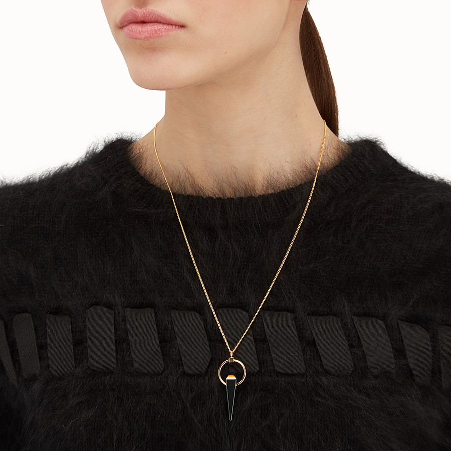 FENDI RAINBOW NECKLACE - Necklace with black charm - view 2 detail