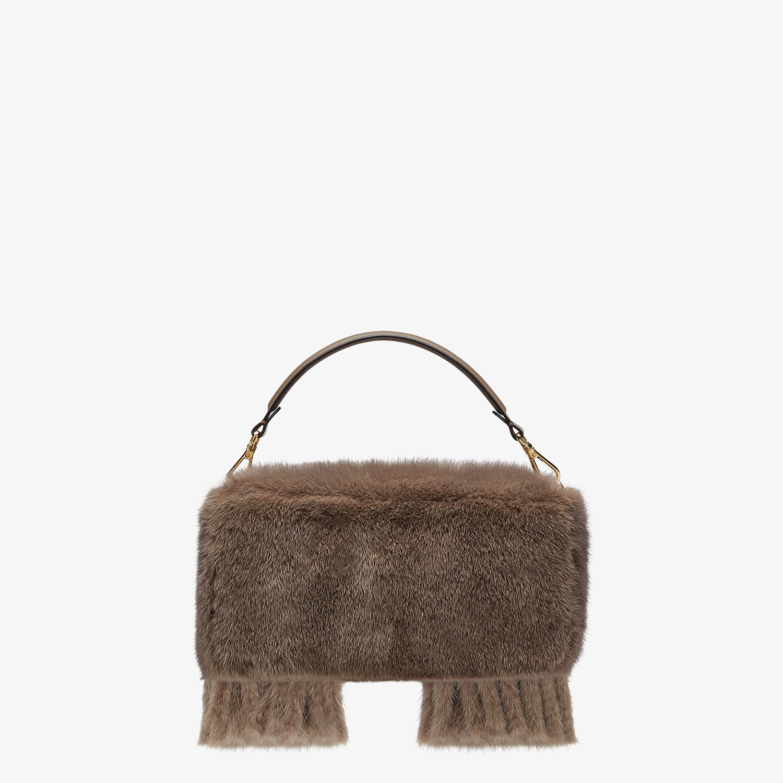 FENDI BAGUETTE - Gray mink bag with fringing - view 4 detail