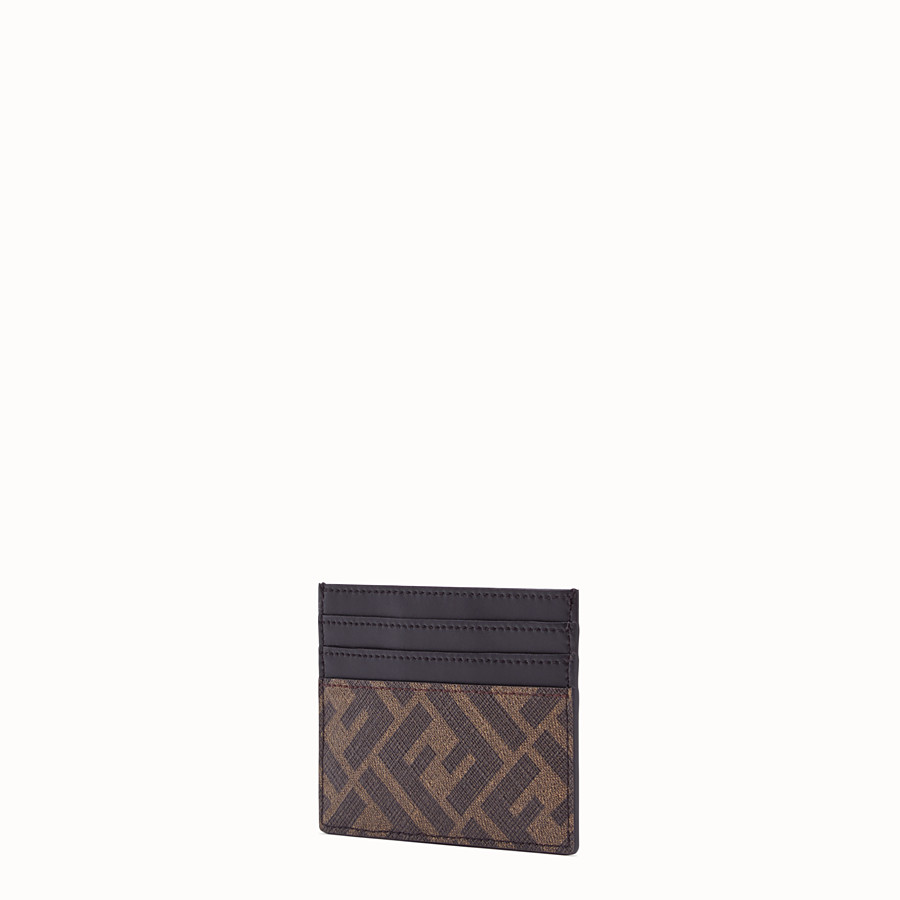 FENDI CARD HOLDER - Brown fabric card holder - view 2 detail