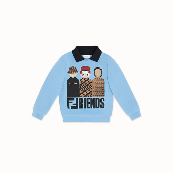 FENDI DOUBLE NECK SWEATSHIRT - Ceramic colour cotton sweatshirt - view 1 small thumbnail