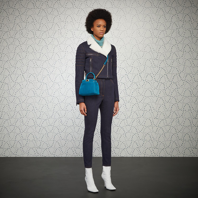 FENDI PEEKABOO ICONIC XS - Minibag in suede blu - vista 2 dettaglio