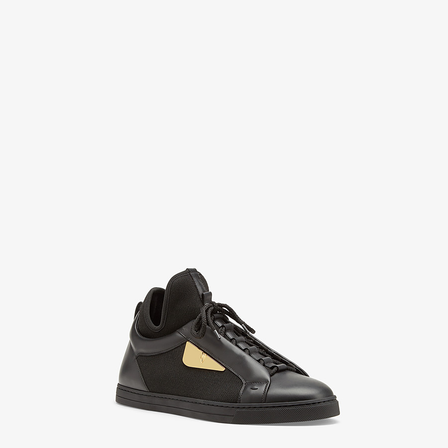 FENDI SNEAKERS - Black leather and tech fabric high-tops - view 2 detail