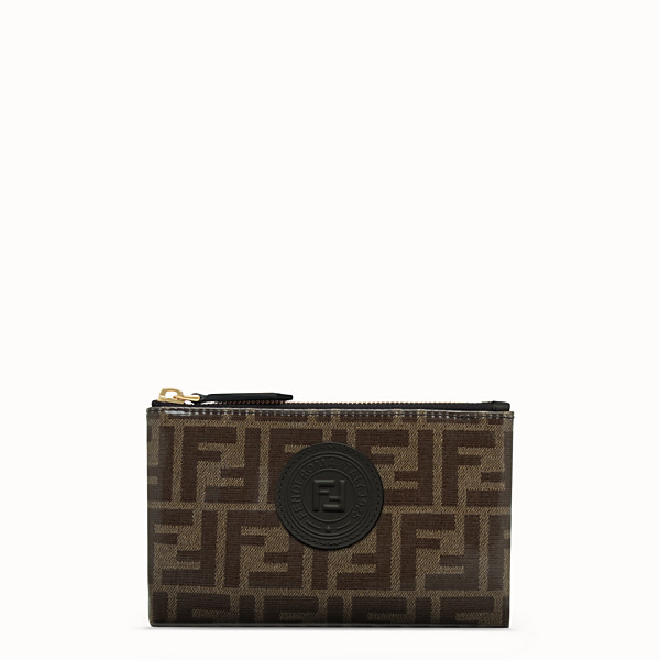 FENDI SMALL FLAT POUCH - Brown fabric pouch - view 1 small thumbnail