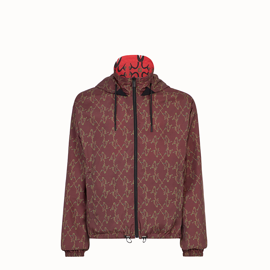 FENDI WINDBREAKER - Red tech fabric windbreaker - view 4 detail