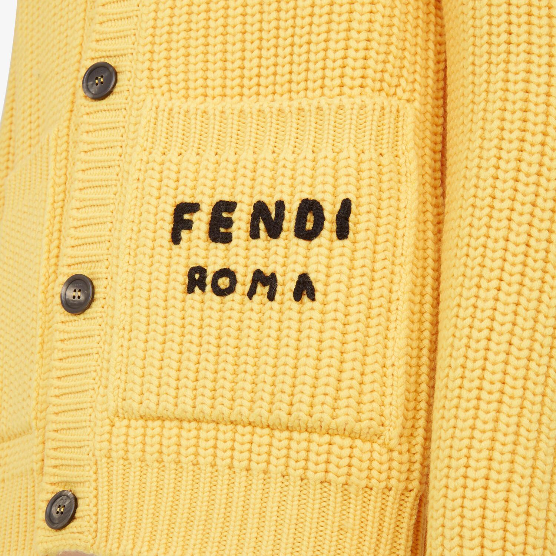 FENDI CARDIGAN - Yellow wool cardigan - view 3 detail