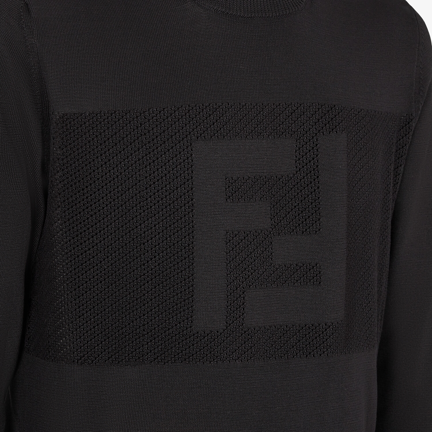 FENDI SWEATER - Black cotton sweater - view 3 detail