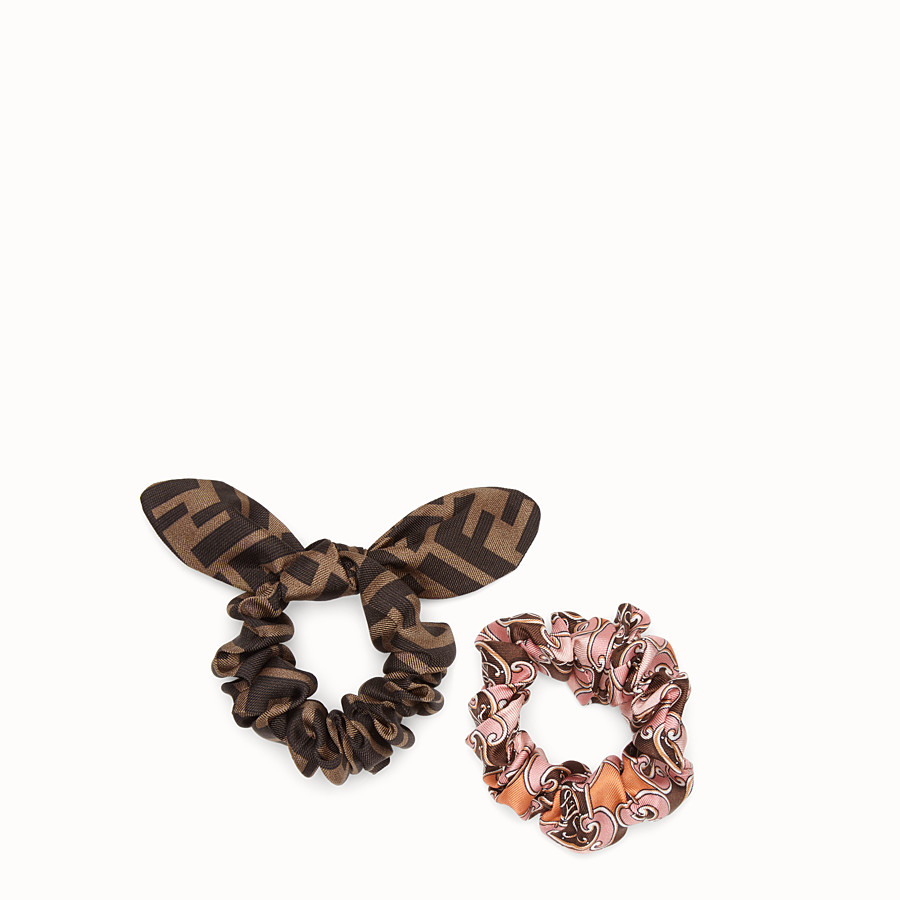 FENDI HAIR ELASTICS - Set of two multicolor silk hairbands - view 1 detail