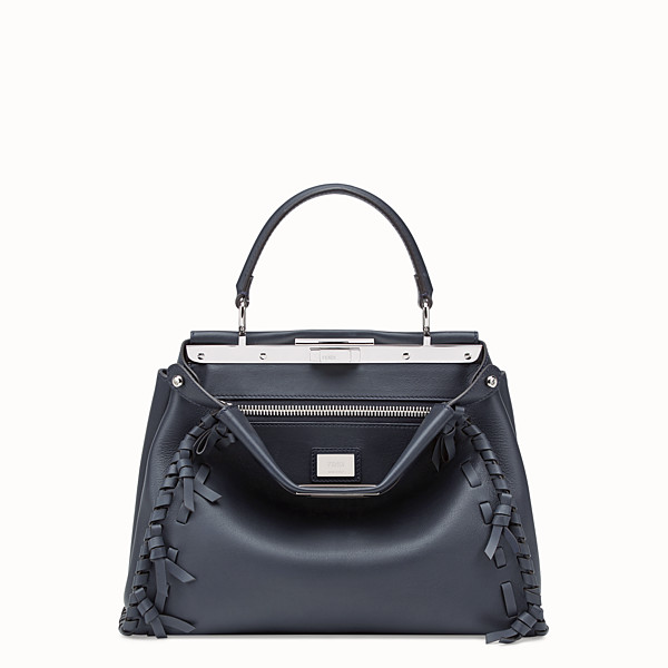 FENDI PEEKABOO REGULAR - Borsa in pelle blu - vista 1 thumbnail piccola