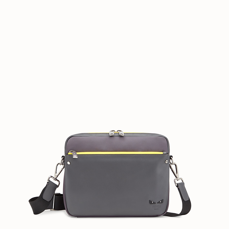 FENDI MESSENGER - Grey fabric and leather bag - view 1 detail