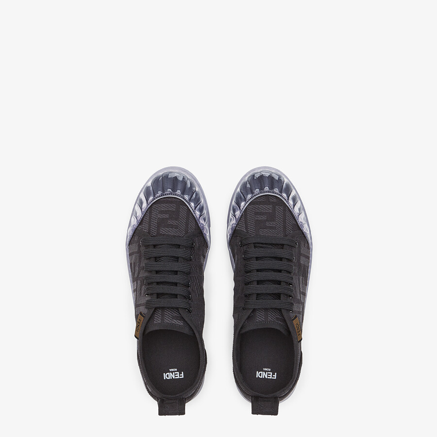 FENDI SNEAKERS - Black canvas low-tops - view 4 detail