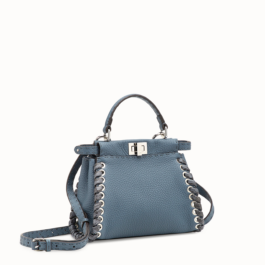FENDI PEEKABOO MINI - Blue leather bag - view 2 detail