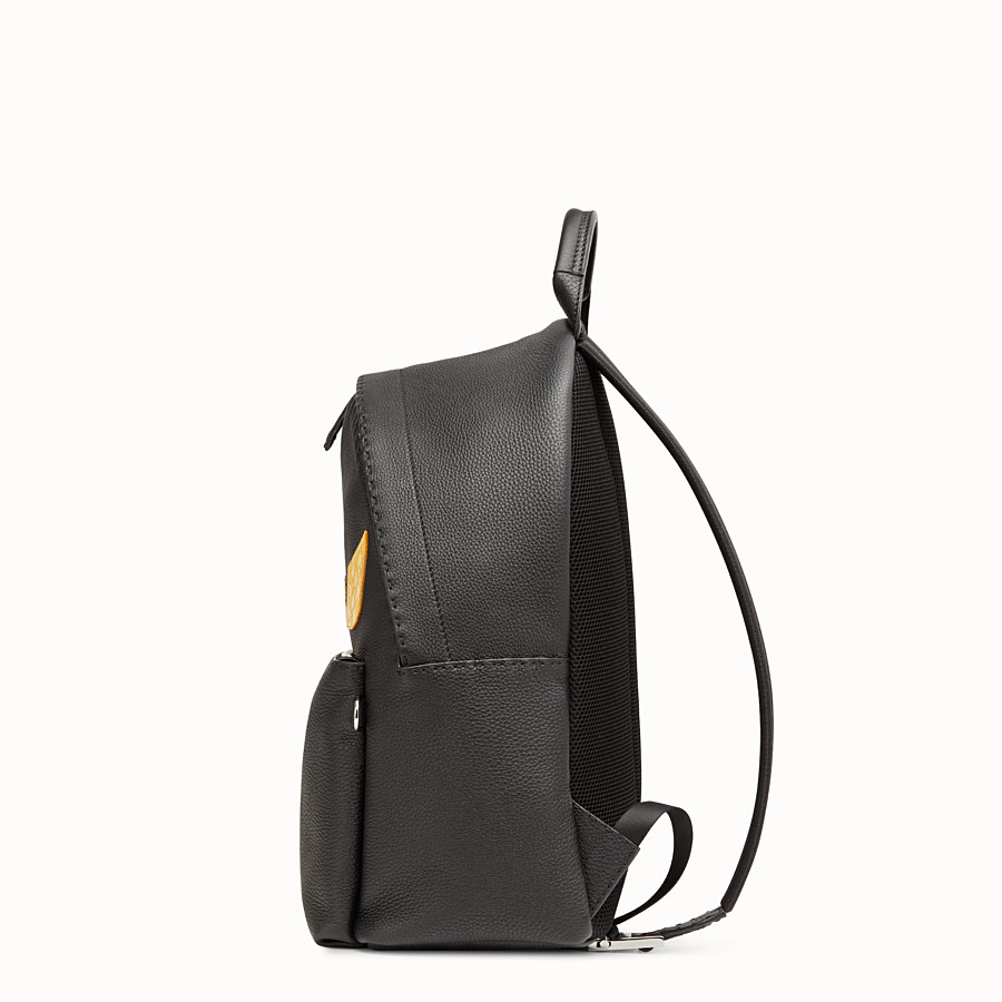 FENDI BACKPACK - In black Roman leather with inlay - view 2 detail