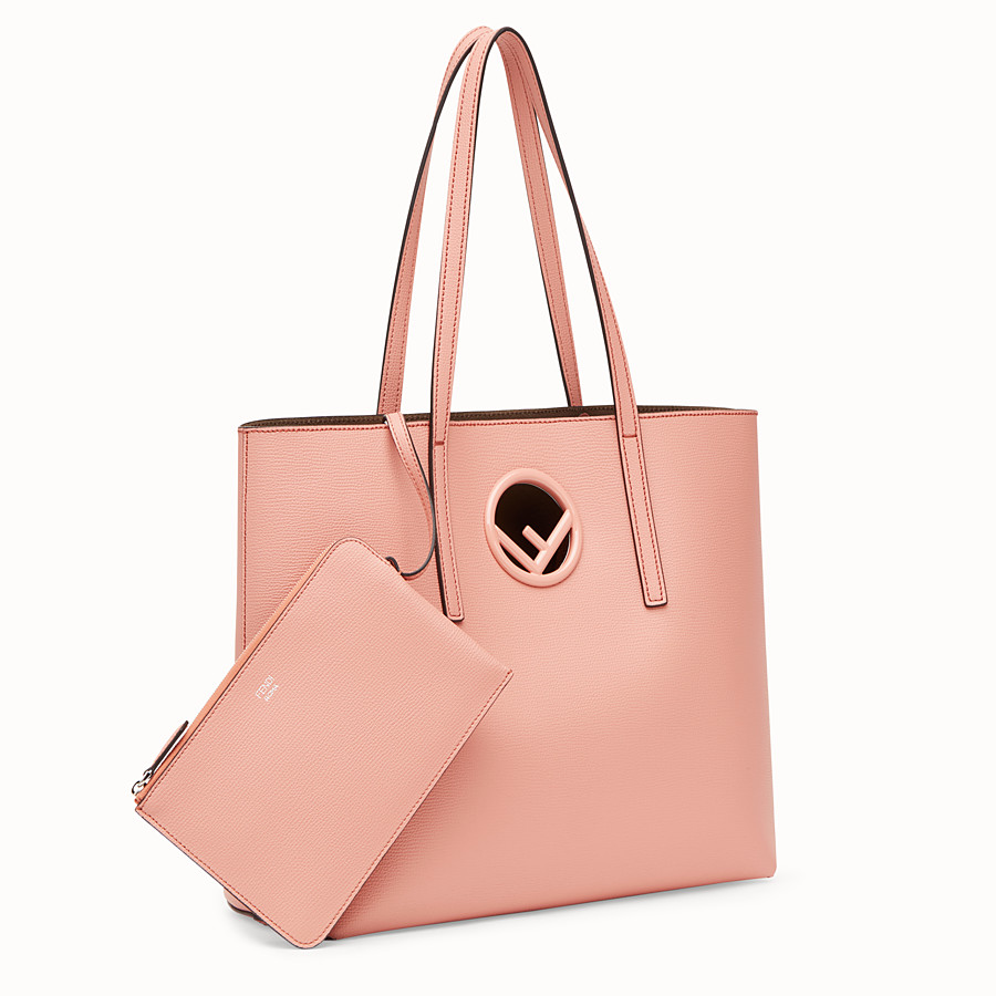 FENDI SHOPPING LOGO - Pink leather shopper - view 2 detail