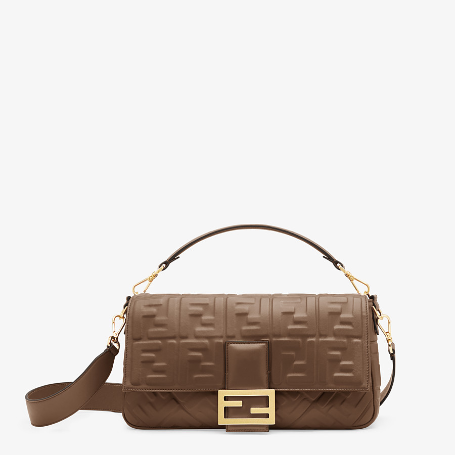 FENDI BAGUETTE LARGE - Brown nappa leather bag - view 1 detail