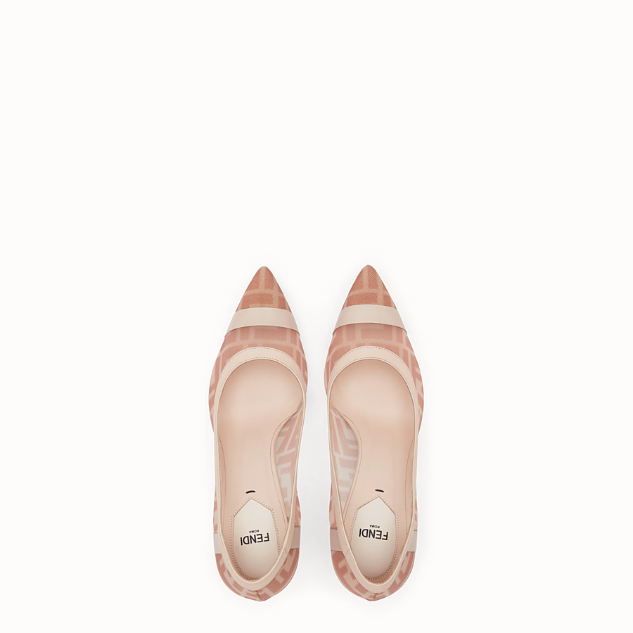 FENDI COURT SHOES - Colibrì in pink mesh and nude leather - view 4 detail