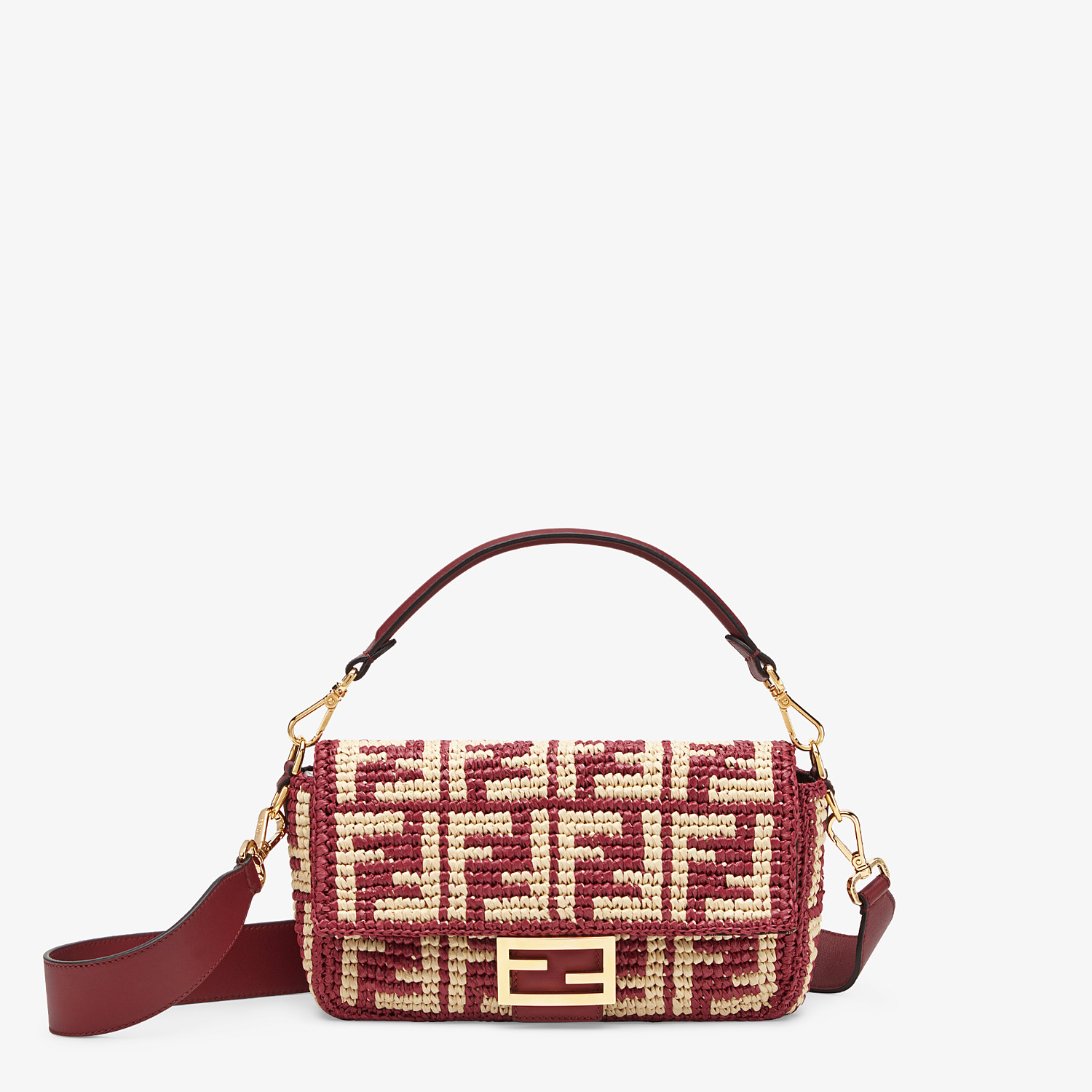 FENDI BAGUETTE - Burgundy raffia FF bag - view 1 detail