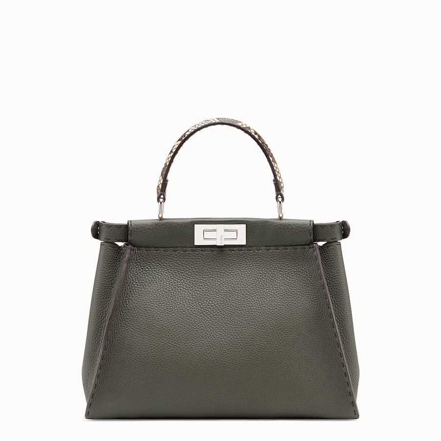 FENDI PEEKABOO REGULAR - Green leather bag with exotic details - view 3 detail