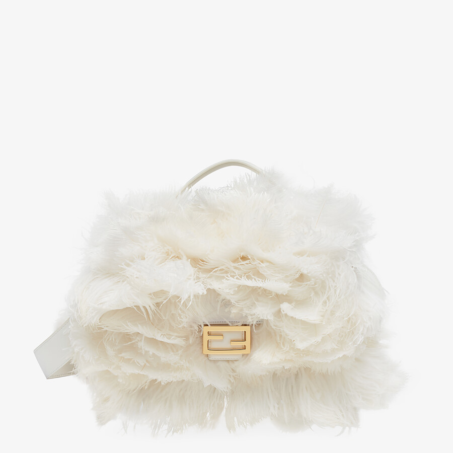 FENDI BAGUETTE - White nappa leather and feather bag - view 1 detail