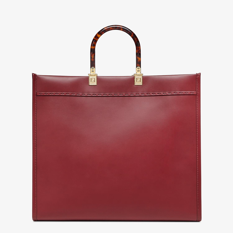 FENDI SUNSHINE SHOPPER - Burgundy leather shopper - view 3 detail