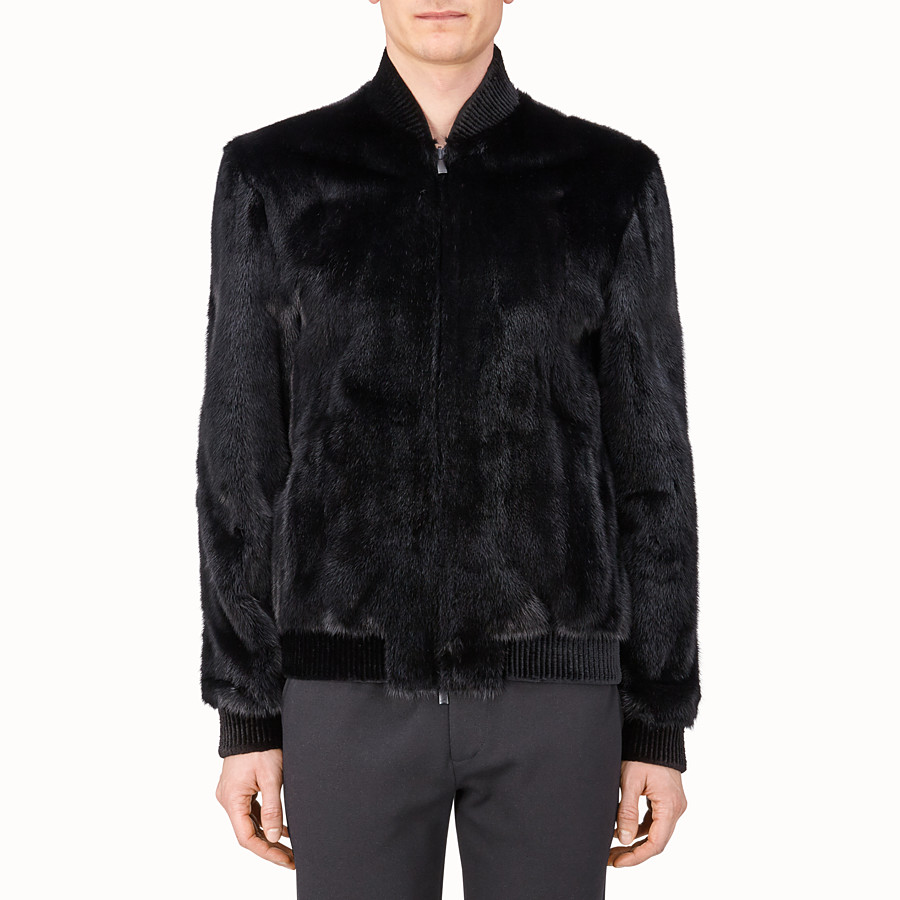 FENDI JACKET - Black mink and tech fabric jacket - view 1 detail