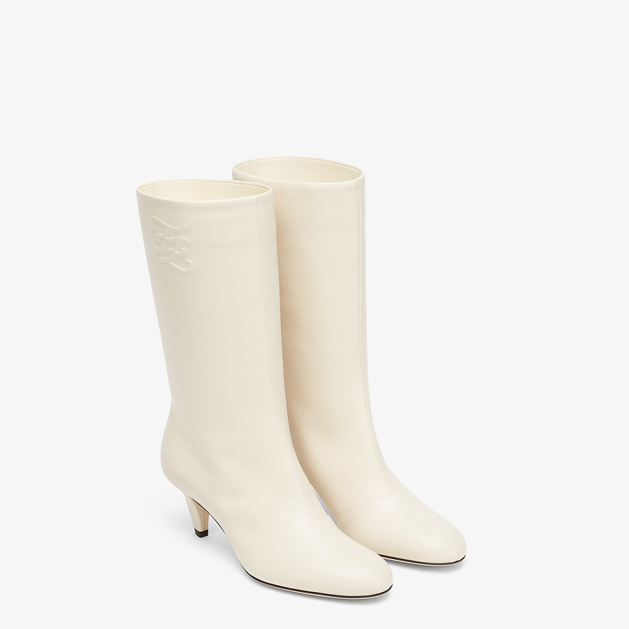 FENDI KARLIGRAPHY - White leather boots with medium heel - view 4 detail