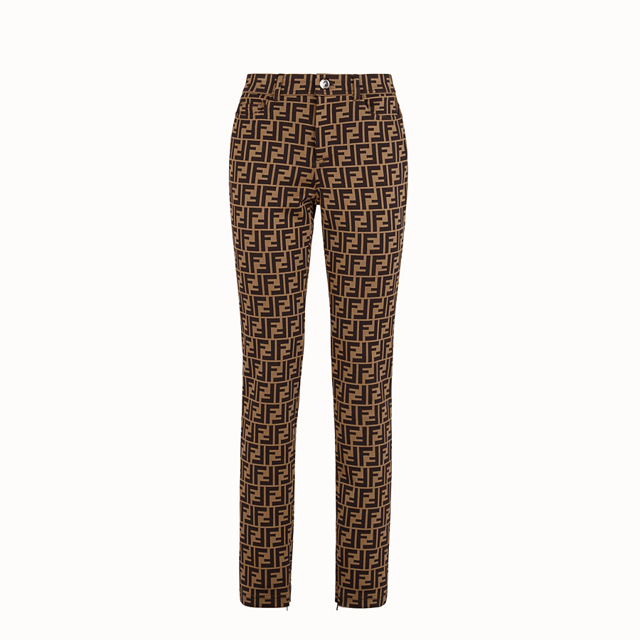 FENDI TROUSERS - Brown cotton jersey trousers - view 1 detail