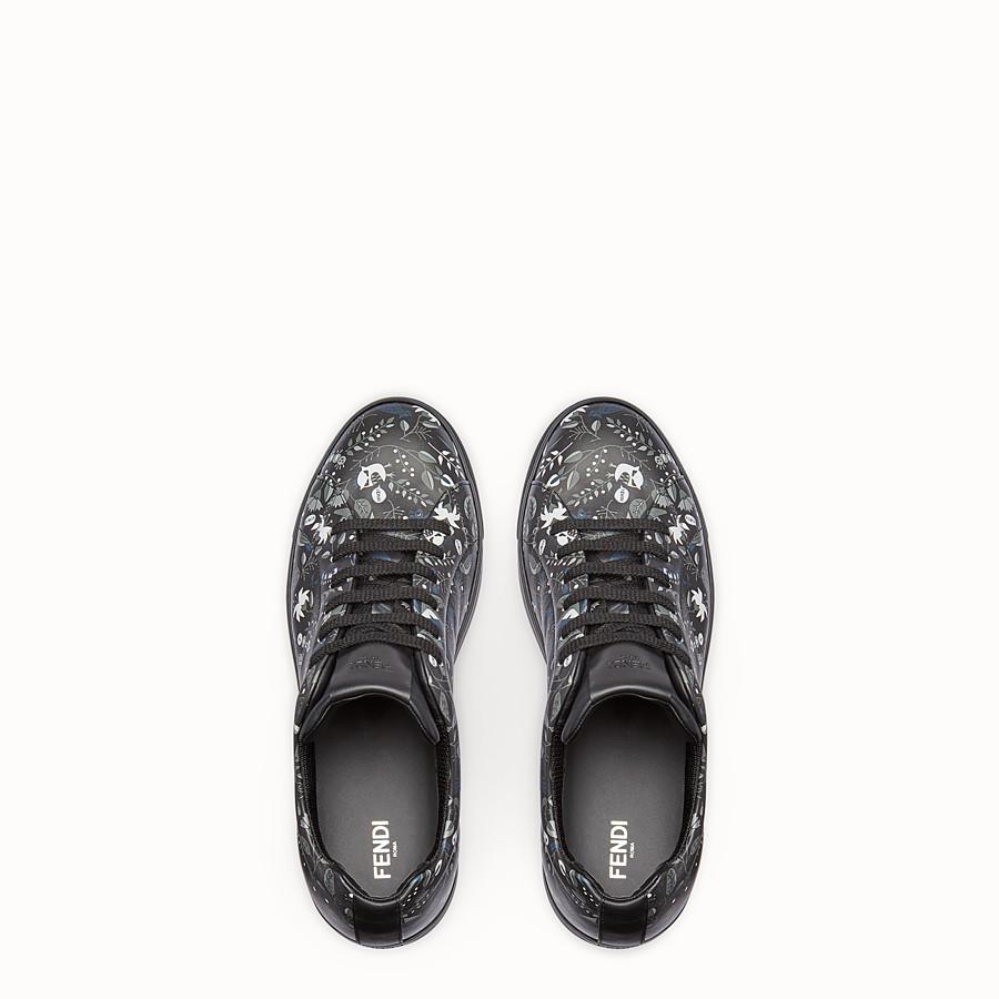 FENDI SNEAKER - Printed black and grey lace-ups - view 4 detail