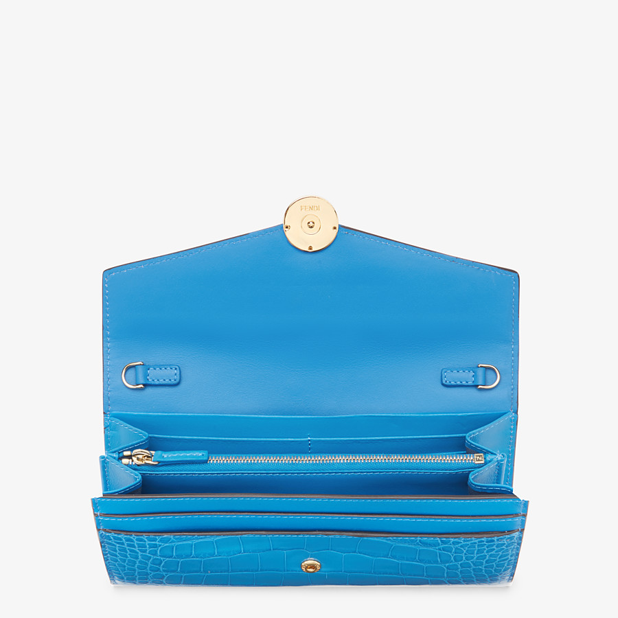 FENDI CONTINENTAL WITH CHAIN - Pale blue alligator wallet - view 4 detail