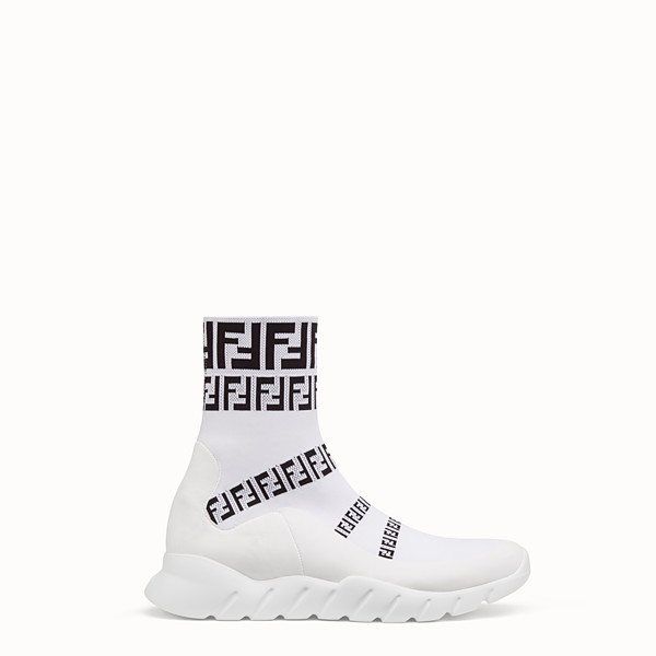 FENDI SNEAKERS - White tech fabric high-tops - view 1 small thumbnail