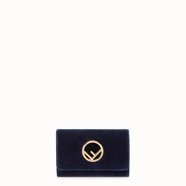 FENDI WALLET ON CHAIN - Blue velvet mini-bag - view 1 small thumbnail