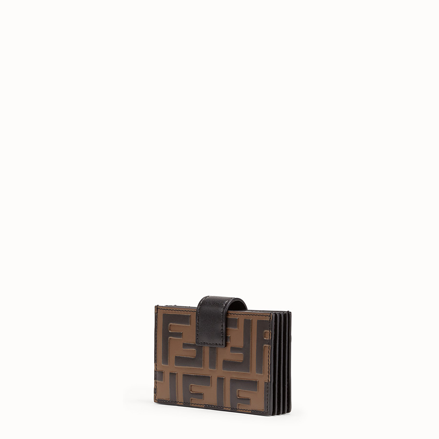 FENDI CARD HOLDER - Black leather gusseted card holder - view 2 detail