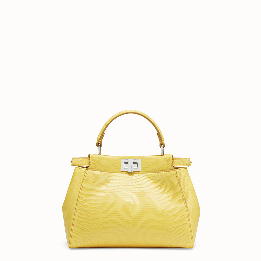 FENDI PEEKABOO ICONIC MINI - Yellow lizard bag - view 1 detail