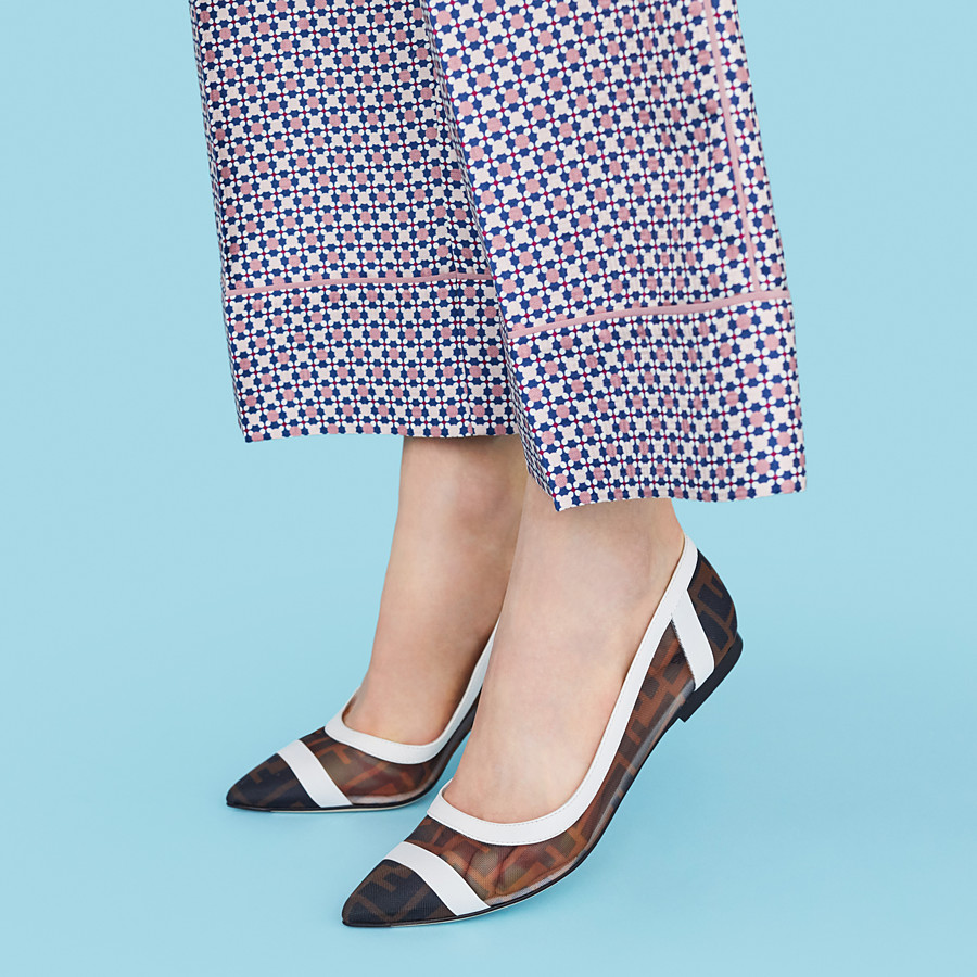FENDI BALLERINAS - Mesh and white leather flats - view 5 detail
